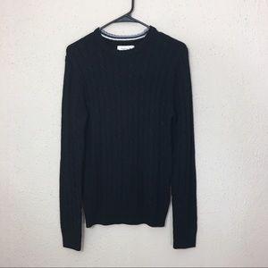 Frank & Oak Cable Knit Sweater Black Crew Neck S